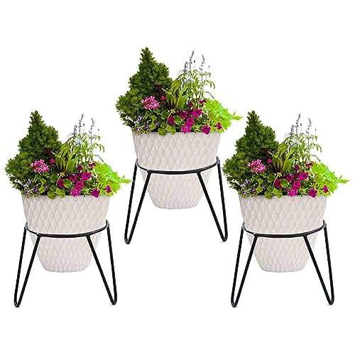 RISE Round Iron Matka/Planter Pot Stand (7x7x7-inch, Black) - Set of 3 pcs