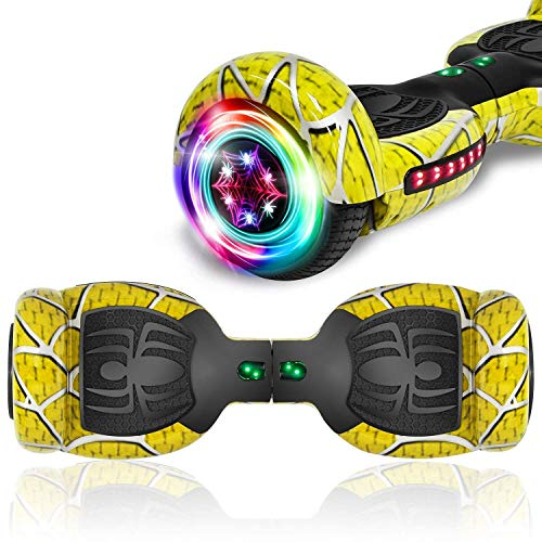 """TPS Power Sports Hoverboard Self Balancing Scooter for Adults and Kids 300W Dual Motor 6.5"""" Wheels Bluetooth Speaker LED Lights Self Balance Hoverboards Great Gift UL2272 Certified (Yellow)"""