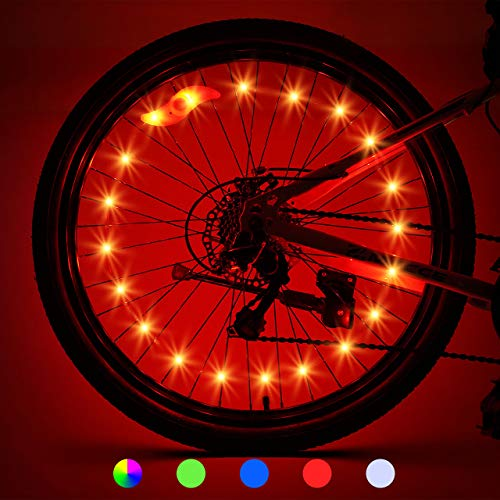 LET'S GO! LED Bike Wheel Lights Best Gifts for Men, Gifts for 5-18 Year Old Boys Girls, Gifts for Teens Boys Girls Bike Spoke Lights Cycling Bicycle Decoration (2-Tire Pack, Red)