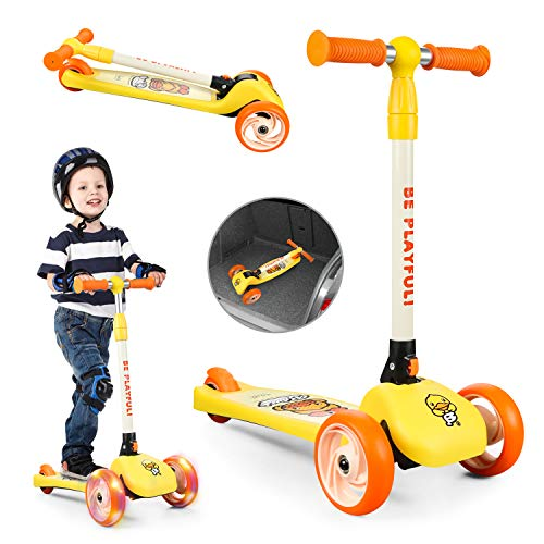 Foldable One-legged Glide 3-Wheeled Scooter for kids - PU Flash Wheels - Handlebar Height Adjustment - Best Outdoor Sports for Boys and Girls Ages 3-8 Years Old The Perfect Christmas Birthday Gift…