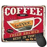 Benutzerdefinierte Office-Mauspad,Kaffee Retro Zinn Zeichen auf Red Cafe Bar In, Anti-Rutsch-Gummibasis Gaming Mouse Pad Mat Desk Decor 9.5 'x 7.9'