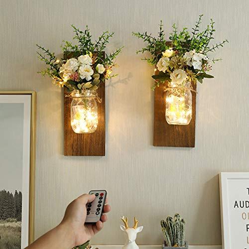 Sunydog 2PCS Frascos de Vidrio Colgantes Luces LED de Hadas Flor de plástico para Colgar en la Pared Iluminación para el hogar Luces Decorativas de Interior con Pilas para el hogar Dormitorio Fiesta