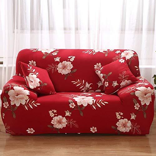 Funda Sofas 2 y 3 Plazas Flores Rojas, Blancas Fundas para Sofa con Diseño Elegante Universal,Cubre Sofa Ajustables,Fundas Sofa Elasticas,Funda de Sofa Chaise Longue,Protector Cubierta para Sofá