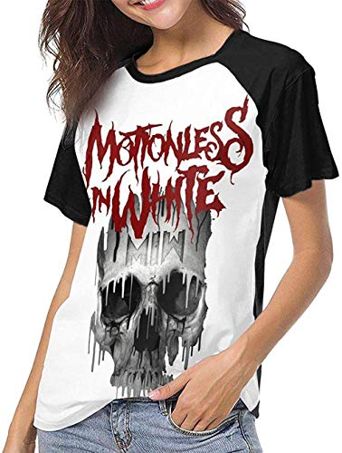 Motionless in White Women's Individuality Fashion Baseball Short Sleeve Round Neck Print Tshirt,As Pic,L