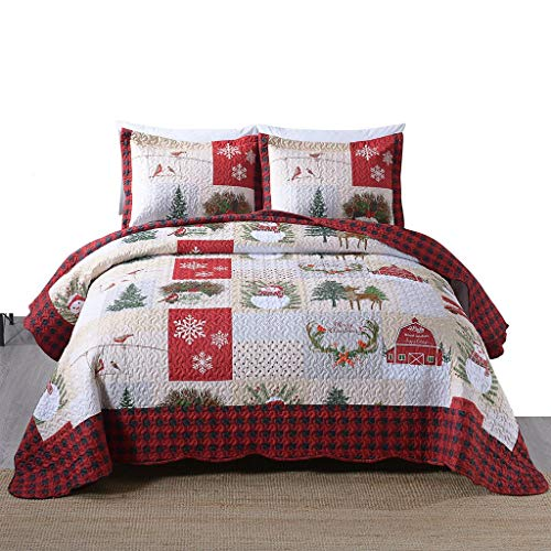 MarCielo 3 Piece Christmas Quilt Set, Rustic Lodge Deer Quilt Bedspread Throw Blanket Lightweight Bedspread Coverlet Comforter Set BY013 (King)