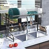 Plasaig Escurreplatos de cocina de acero inoxidable, escurridor para vajilla...