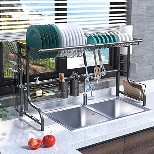 Plasaig Escurreplatos de cocina de acero inoxidable, escurridor para vajilla sobre pie,...