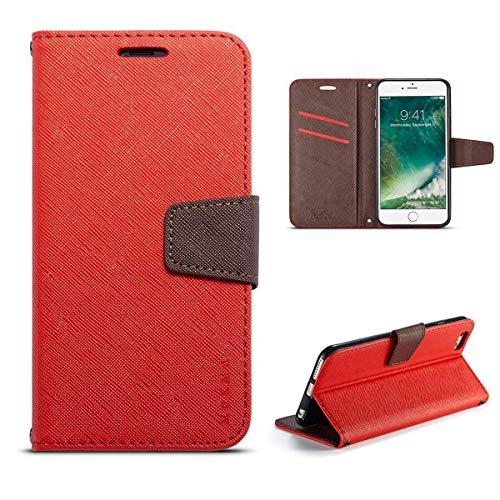 Sangrl Libro Funda para Xiaomi Redmi 4A, Premium PU Leather Cover con Cierre Magnético Billetera Soporte Flip Case para Xiaomi Redmi 4A - Rojo