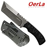 Oerla TAC Knives OLHM-012 Fixed Blade Outdoor Duty Knife Small Cleaver Knife 420HC Stonewashed Stainless Steel Field Knife Camping Knife with G10 Handle Waist Clip EDC Kydex Sheath (Black)