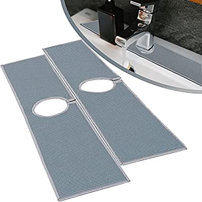 MinJH Faucet Splash Catcher,Sink Splash Guard, Strong Water Absorption Kitchen Faucet Pad, Microfiber Water Drying Pads to Keep Sink Area Dry for Kitchen,Bathroom & RV