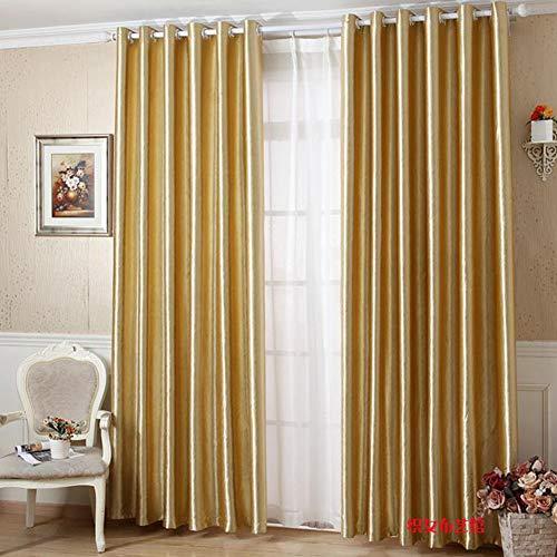 CurDecor Volltonfarbe Verdunkelung Vorhang, Rauschen reduzieren Blackout Verdicken sie Vorhänge Ösen Fenster drapiert Moderne Wohnzimmer Schlafzimmer-Gold 150x270cm(59x106inch)