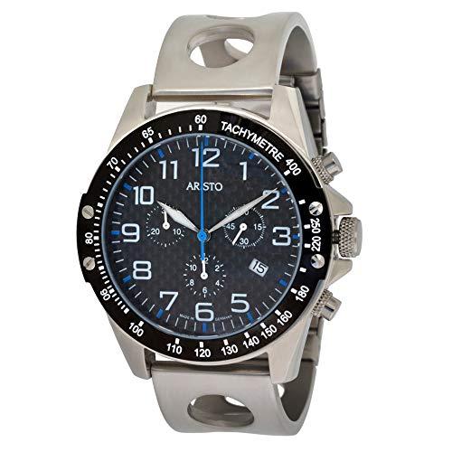 Aristo - Orologio da polso da uomo, al quarzo, cronografo, in acciaio inox, carbonio, con data