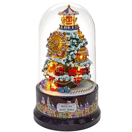 CuteBee DIYドールハウス、360度回転オルゴール、Snow Wonderland(スノーワンダーランド)、手作りキットセット、メロディー天空の城、インテリア、プレゼント、癒しグッズ(LEDライト付き ボタンバッテリーLR54*3)