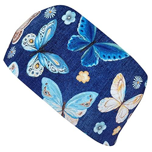 WOLLHUHN ÖKO Damen/Mädchen Süßes elastisches SCHMETTERLINGE Haarband/Stirnband Jeansblau (aus Öko-Stoffen, bio) 202100121