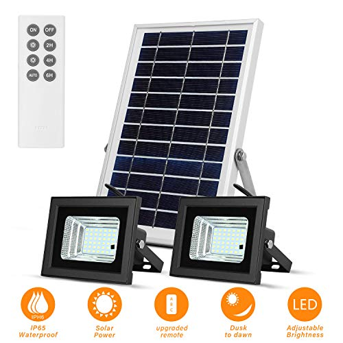 Solar Lights Outdoor Remote Dual 42 LEDs Lights with 7.5