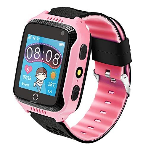 Kinder Smartwatch Telefon, Handy Uhr für Kids, mit Anti-verlorener GPS Ortung Tracker, Rufen, SOS, Voice Chat, Pedometer, Wecker, Schulmodus, kinderuhr für Mädchen oder Jungen (Rosa)