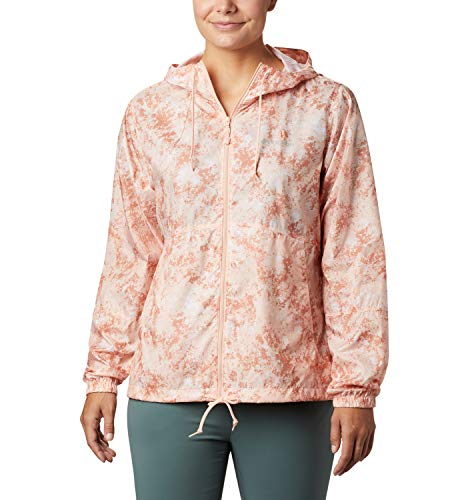 Columbia Flash Forward, Chaqueta cortavientos estampada, Mujer, Rosa (Peach Cloud Rubbed Texture), S