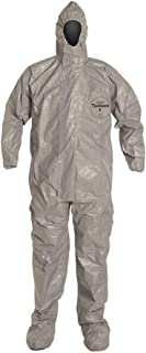 Dupont Tychem F SafeSPEC Coverall TF169TGY with Respirator Fit Hood, Elastic Wrists, Attached Boots, Taped Seam, Storm Flap, Grey [Price is per Each] SIZE 3XL