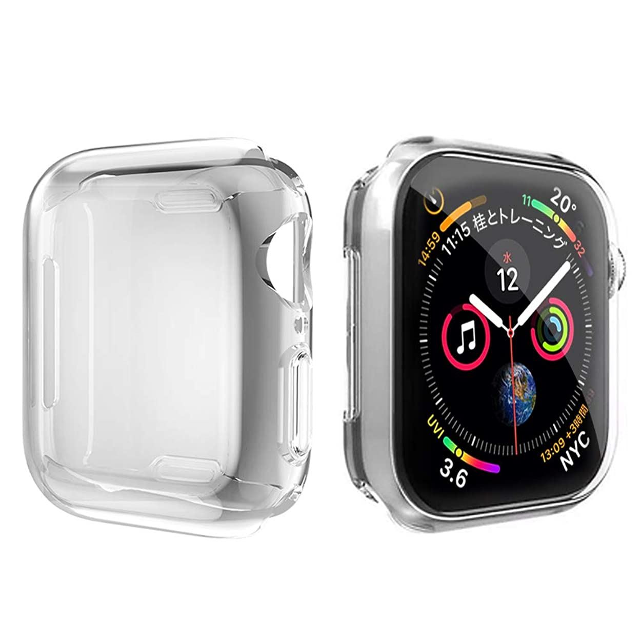 クリープペック失態Movone for Apple Watch Series 5/4 カバー 40mm Apple Watch フルケース TPU素材 メーキ加工 全面保護 アップルウォッチ カバー Apple Watch フィルム 高感度 耐衝撃性 軽量超簿 装着簡単 Apple Watch Series 5/4に対応 (40mm/クリア)