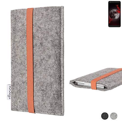 flat.design Handy Hülle Coimbra für Sharp Aquos B10 - Schutz Hülle Tasche Filz Made in Germany hellgrau orange