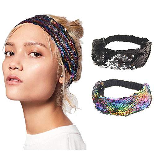 Ushiny Boho Hoofdbanden Elastische Yoga Kapsel Pailletten Mode Haarband Accessoires voor Vrouwen en Meisjes (2stks)
