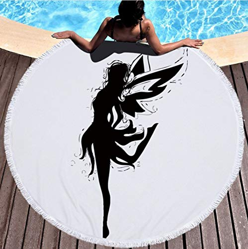 Vanzelu Elf en Vleugels Microfiber Beach Towel Plus Tassel Design Ronde Badmat Yoga Mat Kind Kruipkussen Diameter 150x150cm Picknick Mat
