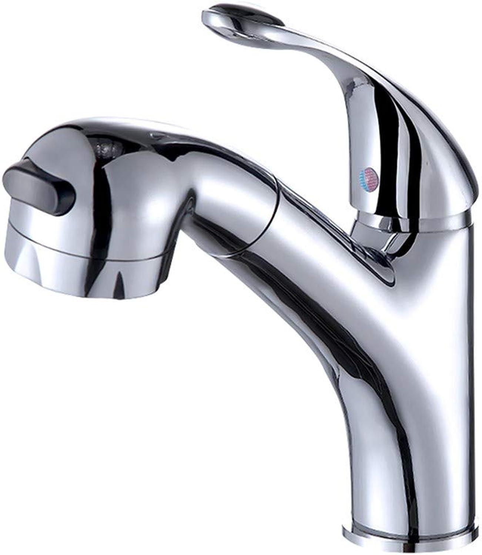 SDRKE faucet pull faucet hot and cold basin full copper single hole bathroom faucet bathroom wash basin faucet
