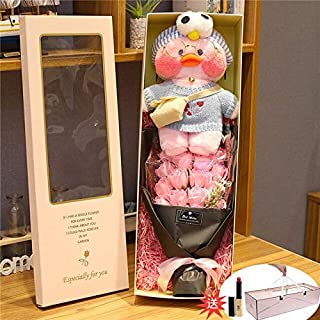 Gift Box Cartoon Cute Lalafanfan Cafe Duck Plush Toy Stuffed Soft I Duck Doll Animal Korean Worldow Birthday Gift for Kids Children Must Have Baby Items 2 Year Old Girl Gifts The Favourite Anime