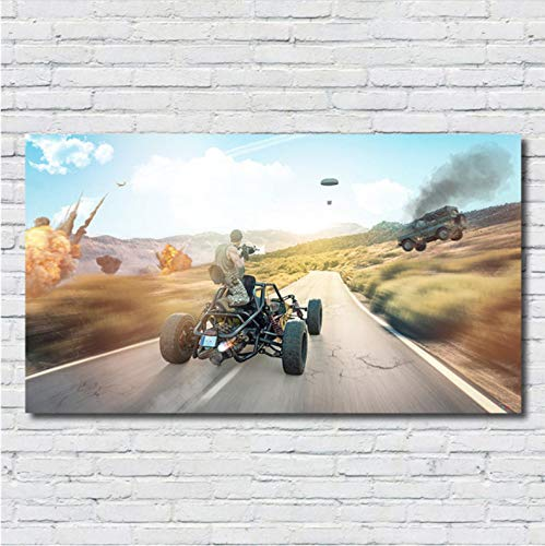mohanshop Pubg Ps4 Game Poster Painting Poster Print Living Room Home Decor Game HD Nursery Kids Room Wall Art Lienzo Pintura A243 (50X70Cm) Sin Marco