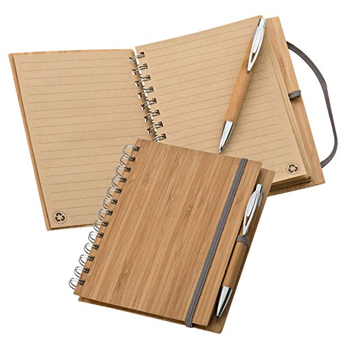 Notizbuch mit 140 Seiten ungebleichtem Recycling Papier im Bambus Cover mit Holzbleistift