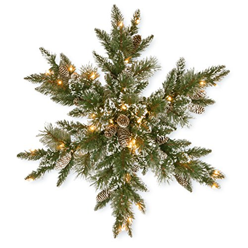 National Tree Company Pre-lit Artificial Christmas Star Shaped Wreath | Includes Pre-strung White LED Lights | Glittery Bristle Pine - 32 Inch