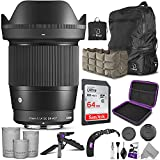 INCLUDES: Sigma 16mm f/1.4 DC DN Contemporary Lens for + AirBag Packable Bag and Camera Insert + SanDisk 64GB C10 Ultra UHS-I SDXC Memory Card + Altura Photo Mini Tripod with Pistol Grip + Altura Photo Rapid Fire Wrist Strap + Altura Photo Hard-Shell...