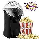Hot Air Popcorn Popper, 1200W Popcorn Machine for Home Use, No Oil Needed Popcorn Maker, Healthy Air Popcorn maker (Black)