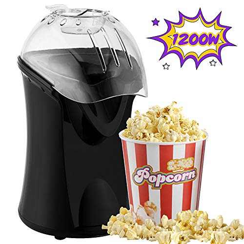 Lowest Price! Hot Air Popcorn Popper, 1200W Popcorn Machine for Home Use, No Oil Needed Popcorn Make...