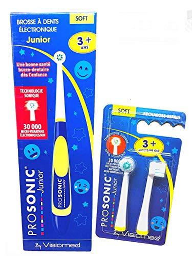 Visiomed Kit Prosonic Junior – 1 cepillo de dientes con microvibración – 30.000 vibraciones/minuto – 1 Visiomed Blister 2 cabezales flexibles (g)