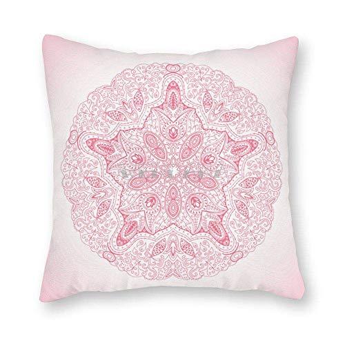 Lsjuee Rosa Ornamental Redondo patrón de Encaje círculo Lienzo Fundas de Almohada 18 x 18 Fundas de Almohada de Temporada navideña Funda de Almohada Decorativa para decoración del hogar sofá de la s