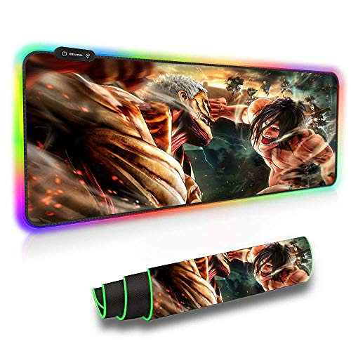 RGB Gaming Mouse Pads Attack on Titan Anime Mouse Pad Luminous Color Computer Keyboard Mat Non-Slip Rubber Base Mouse Mat-11.8'X31.5'