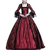Costume da Regina Medievale Donna Vittoriano Abito da Sera Gotico Rinascimentale Eleganti Vestito Bodeaux XXL