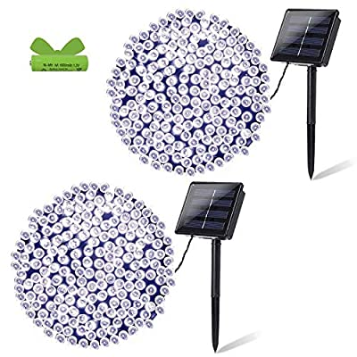 OZS- 2Pack Each 72FT 200LED Solar Lights Outdoor, Super Bright Solar String Lights Outdoor Waterproof, 8 Modes Solar Fairy Lights for Wedding Patio Garden Tree Party (Cool White)