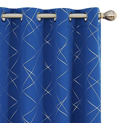 UMI by Amazon Cortinas Opacas de Salon Dormitorio Aislantes Termicas con Ollaos 140x260cm Azul Oscuro