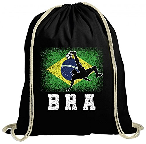 ShirtStreet Brazil Brasilien Fußball WM Fanfest Gruppen Fan natur Turnbeutel Rucksack Gymsac Brasil Football Player, Größe: onesize,schwarz natur