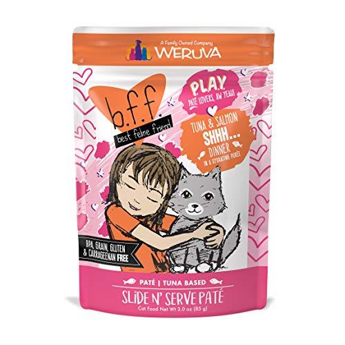 B.F.F. PLAY - Best Feline Friend Paté Lovers, Aw Yeah!, Tuna & Salmon Shhh... with Tuna & Salmon, 3oz Pouch (Pack of 12)