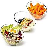 EZOWare Cuencos para Ensalada de Vidrio, Set de 3 Cuenco Inclinado Apilables de Cristal - Ideal para Servir Ensaladas, Cereales, Pasta, Bocadillos, Postre - 750 ml / 17.5 cm