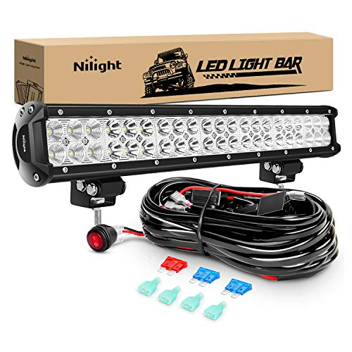 Nilight - ZH006 LED Light Bar 20 Inch 126W Spot Flood Combo Led Off Road Lights with 16AWG Wiring Harness Kit-2 Lead, 2 Years Warranty
