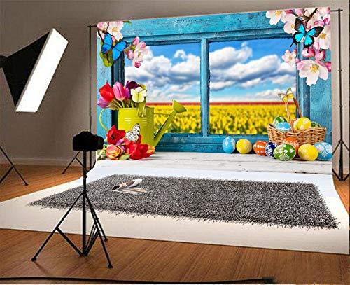 EdCott 7x5ft Fotografie Hintergrund Ostern Farbige Dekoration Holzfenster Rustikale Blautöne Frühlingsblüten Eier Blumen Schmetterling Wasserkocher Kinder Baby Erwachsene Porträts Hintergrund