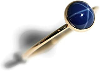Size 8 6mm Created Blue Star Sapphire and 14K Gold Filled Skinny Ring