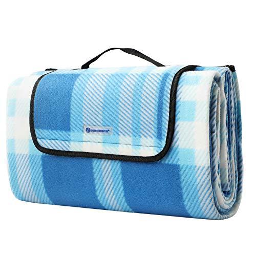 SONGMICS Picknickdecke, 195 x 200 cm, große Stranddecke, Campingdecke, für Outdoor, Camping, Park, Garten, Strand, wasserfeste Unterseite, faltbar, blau-weiß GCM61UW