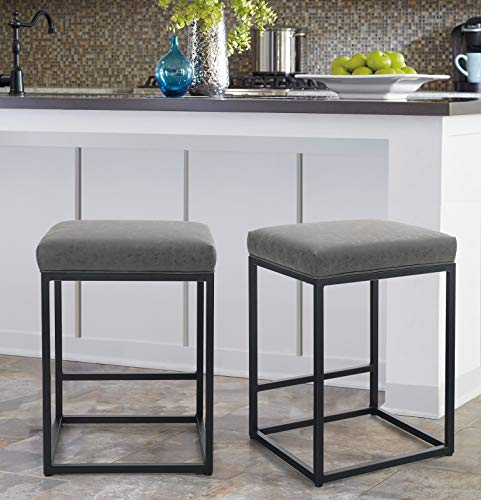 MAISON ARTS Counter Height 24quot Bar Stools Set of 2 for Kitchen Counter Backless Industrial Stool Modern Upholstered Barstool Countertop Saddle Chair Island Stool330 LBS Bear Capacity24 Inch Grey