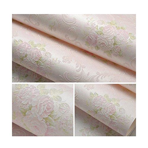 Albeey Blume Tapete Vintage Geprägte Tapete Für Schlafzimmer Wohnzimmer (Rosa)