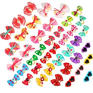 40 Pieces Dog Bows Dog Hair Clips Pet Heart Sunglasses Dog Puppy Hair Bows with Rhinestone Pearls and Handmade Lace Fabric Cute Pet Small Dog Hair Bowknot Grooming Accessories